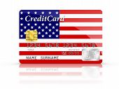 Credit Card Covered With American Flag.