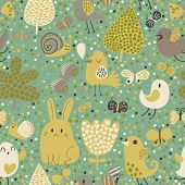 Childish background with rabbit, snail, bird and butterfly in vector. Seamless pattern can be used for wallpapers, pattern fills, web page backgrounds, surface textures.
