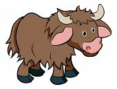 pic of yaks  - An illustration of a cute happy cartoon hairy Yak animal character - JPG