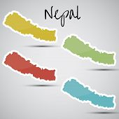 pic of nepali  - shiny vector stickers in form of Nepal - JPG