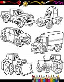 image of truck farm  - Coloring Book or Page Cartoon Illustration of Black and White Cars or Trucks Vehicles and Machines Characters Set for Children Education - JPG