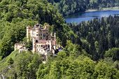 Hohenschwangau Castle Among The Lakes And Greenery
