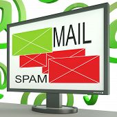 Mail And Spam Envelopes On Monitor Shows Online Messages