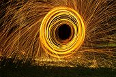Burning Steel Wool Spin In Circles To Make Patterns