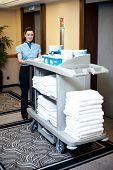 An Active Worker Pushing Housekeeping Cart Around The Lobby