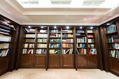 MOSCOW - DEC 6:  Library with bookcase at the Baltschug Kempinski Moscow Hotel on December 6, 2012 i