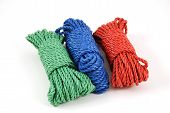 pic of coiled  - three coils of rope in green blue and red - JPG