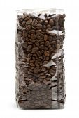 clear plastic bag of coffee beans