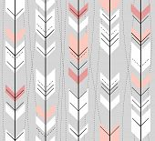 stock photo of primitive  - Seamless geometric pattern in retro style - JPG