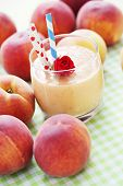 delicious and fresh peach smoothie  - food and drink