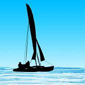 Silhueta de catamarã de vela