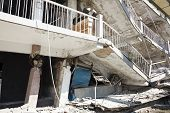 pic of collapse  - old building house destroyed after earthquake happened - JPG