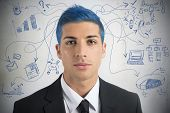 pic of exaltation  - Creative businessman with blue hair and new idea - JPG