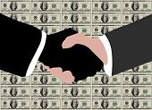 stock photo of dynamo  - close up of a corporate handshake between black and white hands in front of a sheet of 100 dollar bills - JPG