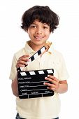Cute Mixed Race Boy With Clapper Board.