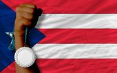 Silver Medal For Sport And  National Flag Of Puertorico