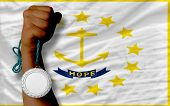 Silver Medal For Sport And  Flag Of American State Of Rhode Island