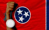 Silver Medal For Sport And  Flag Of American State Of Tennessee