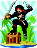 picture of buccaneer  - A vector image of a pirate posing with his treasure chest with tropic island background - JPG