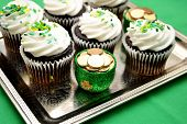 stock photo of st patty  - Luck of the Irish Cupcake in Celebration for St Patty - JPG