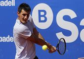 BARCELONA - APRIL, 23: Australian tennis player Bernard Tomic in action during his match against Ken