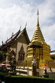 Ubosot And Chedi In Wat Sri Don Moon , Chiangmai Thailand