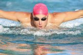 Swimming man athlete butterfly swim stroke. Male sport fitness guy using swimming goggles and cap tr