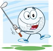 Happy Golf Ball Character Swinging A Golf Club