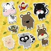 foto of raccoon  - set of cute baby animals looks like stickers on seamless tracks background - JPG
