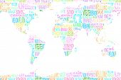 pic of namaste  - Map showing welcome in different languages on white background - JPG