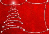 Red Abstract Background With Christmas Tree