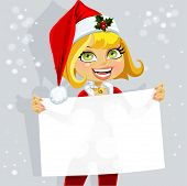 Cute Girl In Santa Suit Hold Blank Seductive Banner For Your Text