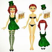 Girl In Coquettish Dress On St. Patrick's Day With A Glass Of Beer Doll Dressing
