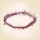foto of humility  - crown of thorns hand drawn vector llustration realistic sketch - JPG