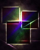 Abstract black background with glowing squares.