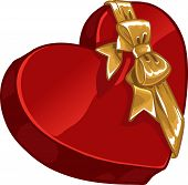 Valentine`s Day Gift Box Of Candy In Shape Of Heart With Gold Decorative Bow