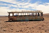 Abandoned Bus In The Desert