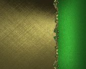 Gold background with a green plate with a pattern on the edges