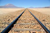 Endless Train Tracks In The Desert