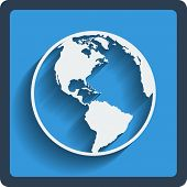 stock photo of brasilia  - Earth planet globe web and mobile icon in flat design with long shadow - JPG