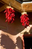 Hanging red chili ristras