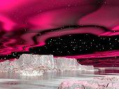Northern lights (aurora borealis)  - 3D render