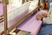 picture of loom  - detail of traditional thai loom at work - JPG