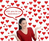 Will you be my Valentine? Beautiful brunette girl asking the Valentine question. Valentine day.