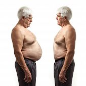 foto of obesity  - Overweight man and regular weight man over white background - JPG