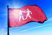 Benin Empire flag waving on the wind