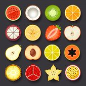 stock photo of passion fruit  - fruit vector icon set on black background - JPG