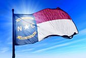 North Carolina (USA) flag waving on the wind