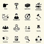 Business icons for IT Strategic planning. Vector