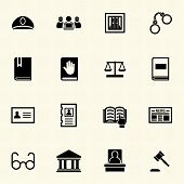 Legal, law and justice icons set.